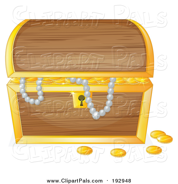 Pal Clipart of a Treasure Chest with Pearls and Gold