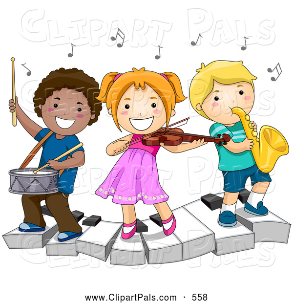 Pal Clipart of a Trio of Diverse School Kids Playing Instruments on a Keyboard