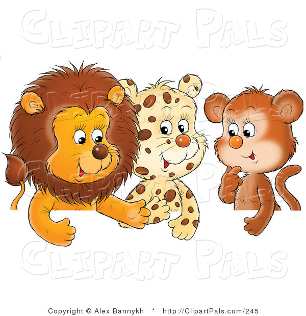 Pal Clipart of a Trio of Friends, a Cute Baby Lion, Leopard and Monkey, Chatting