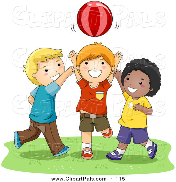 Pal Clipart of a Trio of Happy Boys Playing Catch with a Ball