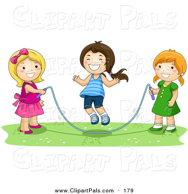 Pal Clipart of a Trio of Happy Girls Playing with a Jump Rope