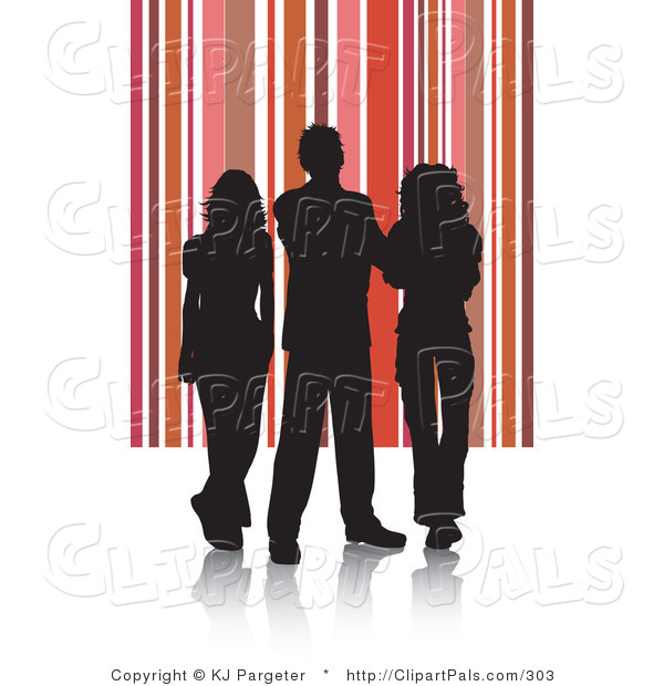 Pal Clipart of a Trio of Silhouetted Adults Against a Red and Pink Striped Background