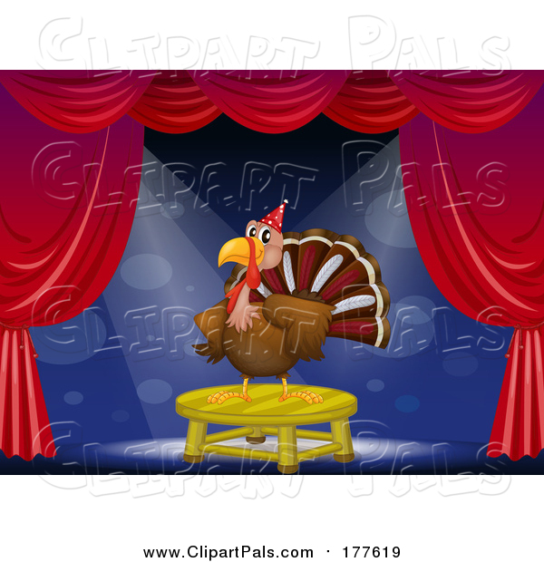 Pal Clipart of a Turkey Bird on Stage