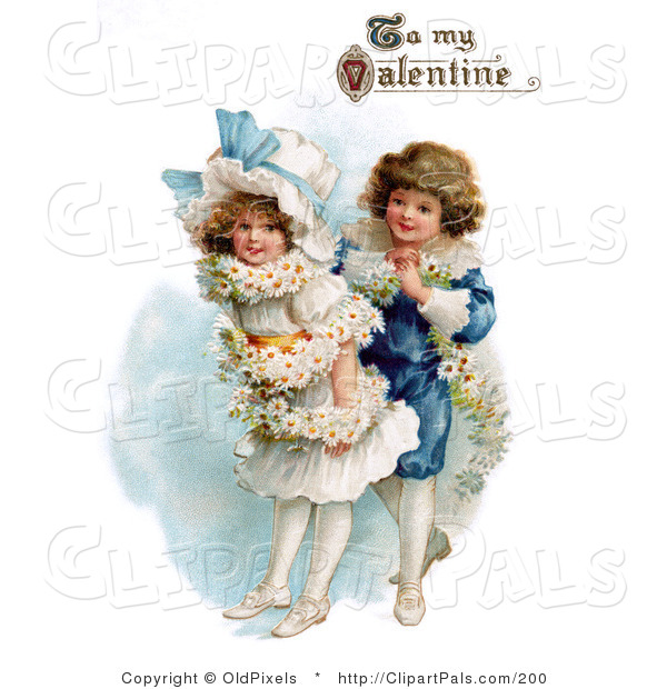 "Pal Clipart of a Vintage Valentine of a Sweet Boy Wrapping His Girlfriend in a White Daisy Flower Garland with ""To My Valentine"" Text, Circa 1890"