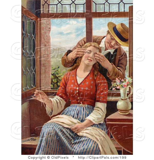 Pal Clipart of a Vintage Victorian Scene of a Man Reaching in Through an Open Window, Covering His Wife's Eyes As She Sews, Circa 1850