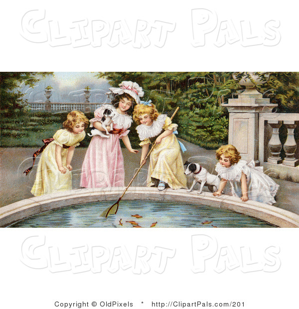 Pal Clipart of a Vintage Victorian Scene of Four Little Girls, Sisters, with Their Dogs, Fishing Goldfish out of a Pond in a Park, Circa 1880
