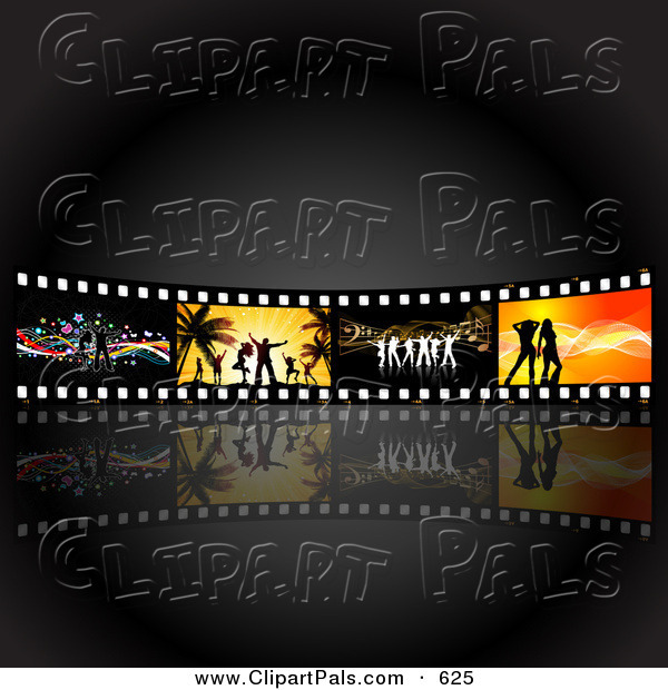 Pal Clipart of a Wall of Dancing Film Strips over Dim Gray and Black