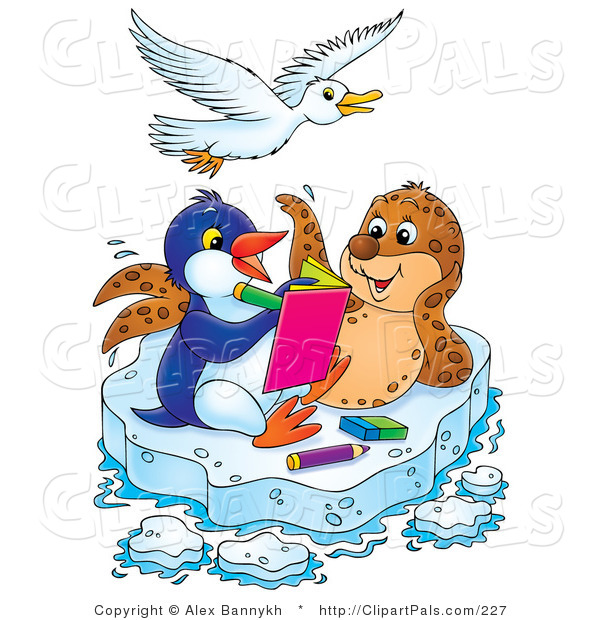 Pal Clipart of a White Bird Flying over a Spotted Seal and Penguin Coloring in a Book on a Floating Sheet of Ice