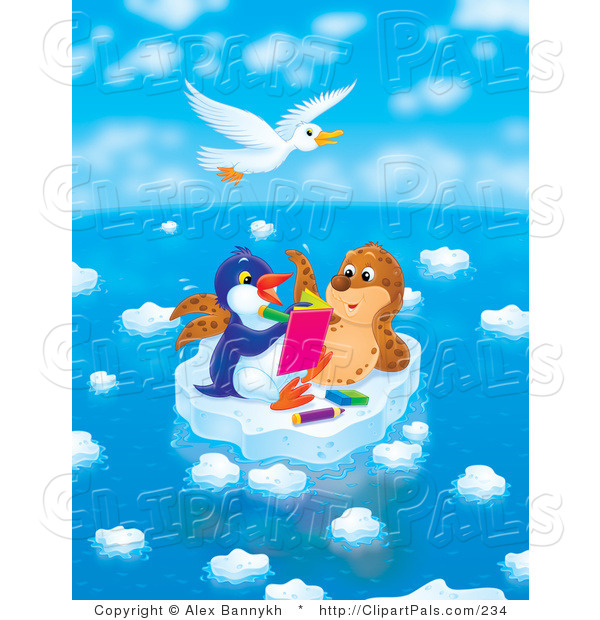 Pal Clipart of a White Seagull Flying Above a Seal Chatting with a Penguin Who Is Drawing in a Book on a Floating Ice Sheet on a Beautiful Day