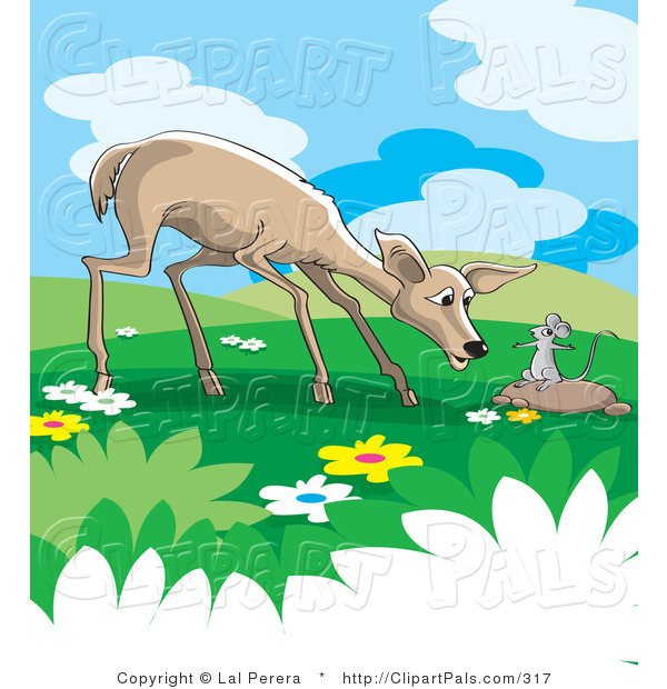 Pal Clipart of a Wild Rat Talking to a Concerned Deer in a Meadow