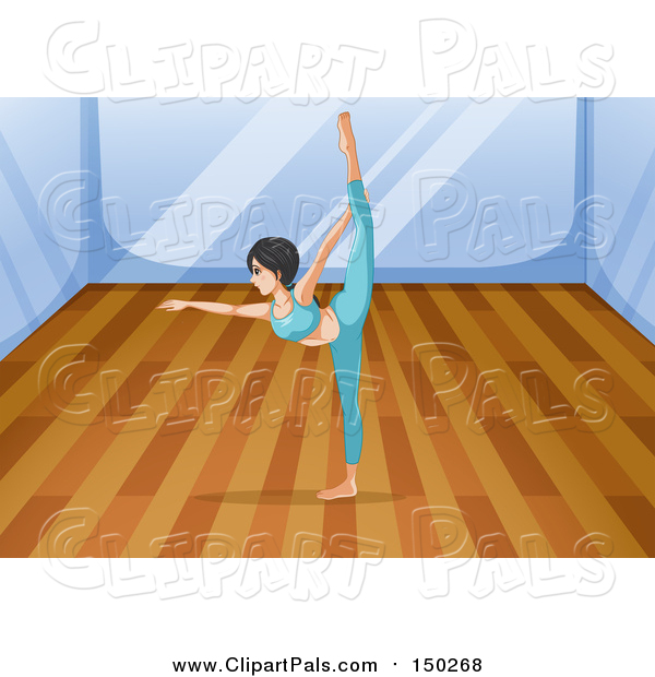 Pal Clipart of a Woman Doing Yoga in a Studio