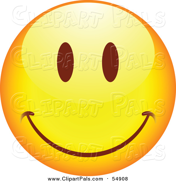 Pal Clipart of a Yellow Cartoon Smiley Face