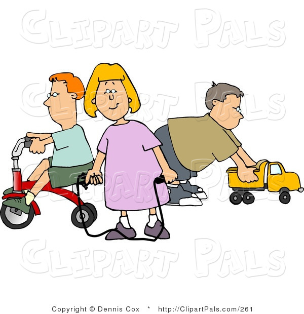 Pal Clipart of a Young Girl and Two Boys Playing with Toys