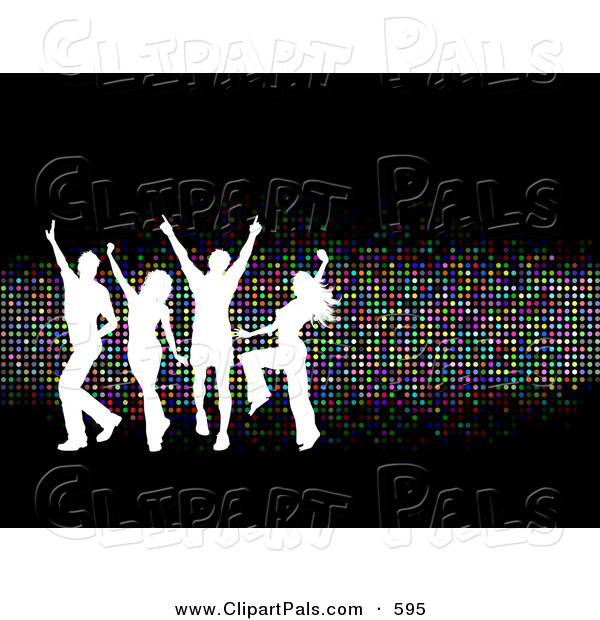 Pal Clipart of a Young White Silhouetted Group of People Dancing over Sparkly Colorful Dots on Black