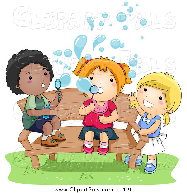 Pal Clipart of an African American Boy and White Girls Blowing Bubbles on a Bench