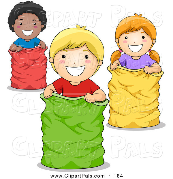Pal Clipart of an African American Boy, White Boy and White Girl Playing in a Sack Race