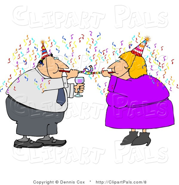 Pal Clipart of an Obese Couple Using Nose Makers at a Party