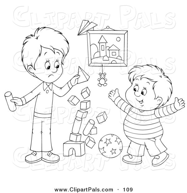 Pal Clipart of an Outline Design of a Stack of Blocks Tumbling While Two Boys Play