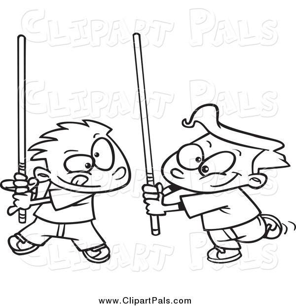 Pal Clipart of Black and White Boys Playing with Light Sabres