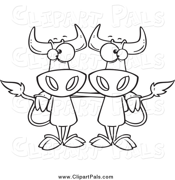 Pal Clipart of Black and White Cow Buddies