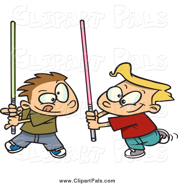Pal Clipart of Boys Playing with Light Sabres