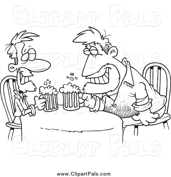 Pal Clipart of Cartoon Black and White Men Having a Drink Together