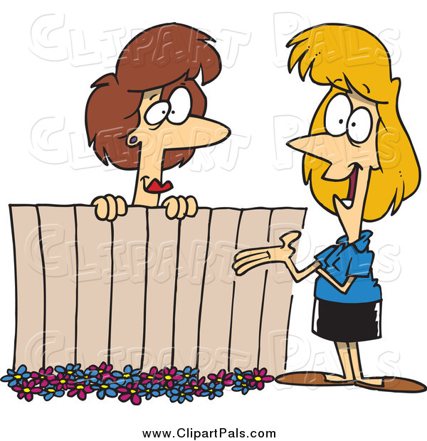 Pal Clipart of Cartoon Female Neighbors Chatting over a Fence