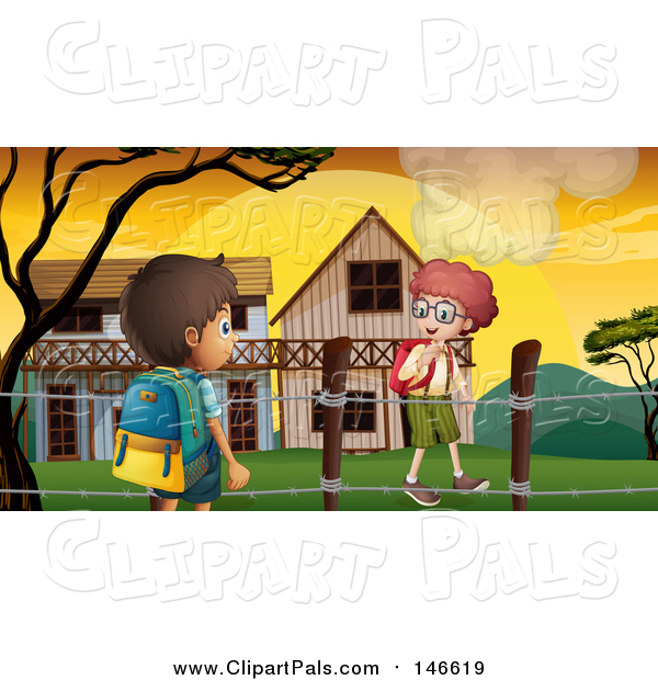 Pal Clipart of Caucasian and a Hispanic School Boys Walking by Buildings at Sunrise