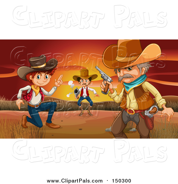 Pal Clipart of Cowboys Against a Sunset