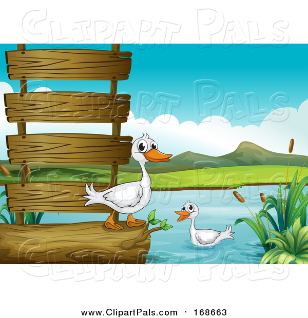 Pal Clipart of Ducks with a Log and Wooden Sign at a Lake