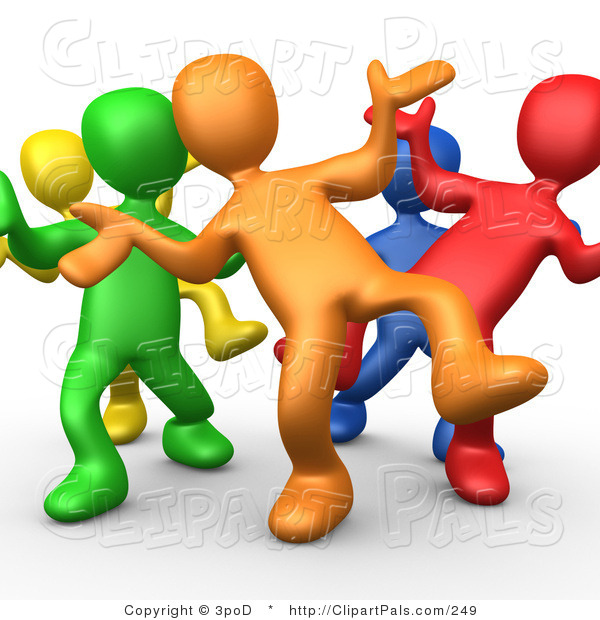 Pal Clipart of Five Different Colored and Diverse People Dancing and Having Fun at a Party Together
