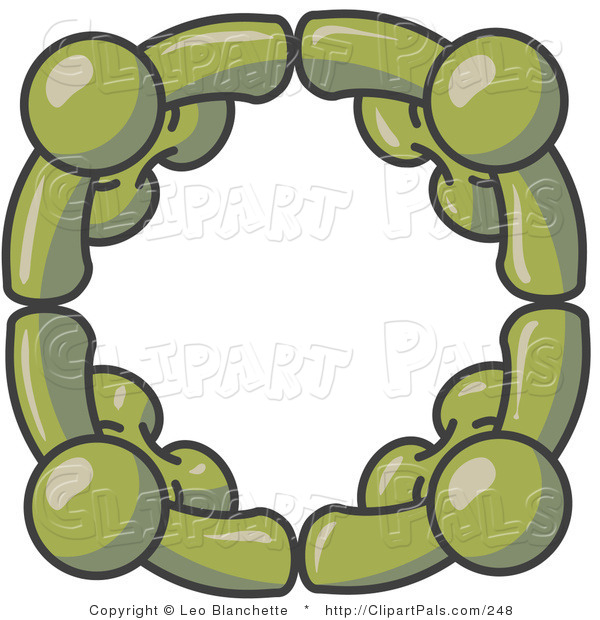 Pal Clipart of Four Dark Green People Standing in a Circle and Holding Hands for Teamwork and Unity