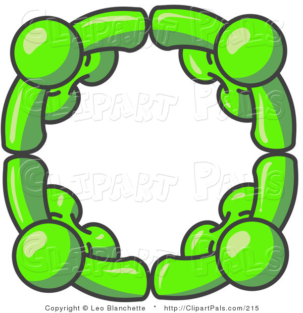 Pal Clipart of Four Lime Green People Standing in a Circle and Grasping Hands for Teamwork and Unity