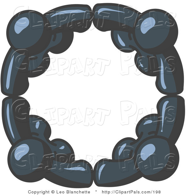 Pal Clipart of Four Navy Blue People Standing in a Circle and Grasping Hands for Teamwork and Unity
