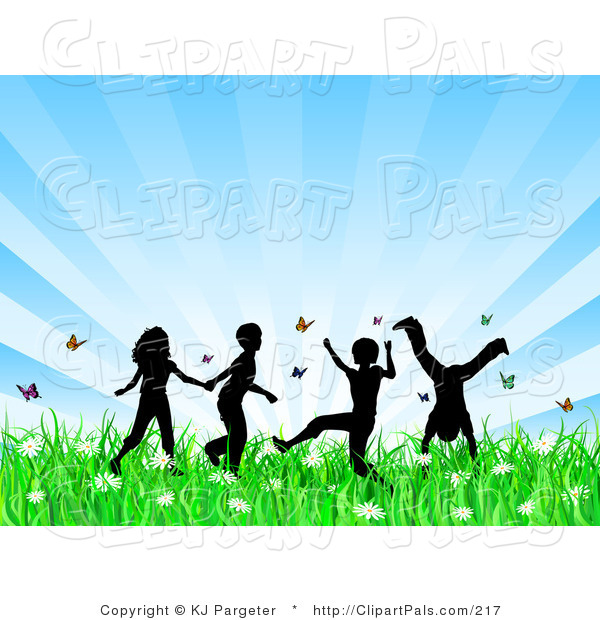 Pal Clipart of Four Playing Silhouetted Children Running, Holding Hands and Doing Somersaults in a Field of Butterflies and Spring Flowers over a Bursting Blue Background
