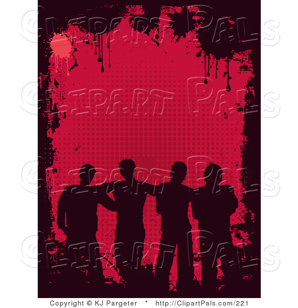 Pal Clipart of Four Silhouetted Male Friends Standing Together As a Group over a Red Background Bordered by Black Grunge and Splatters