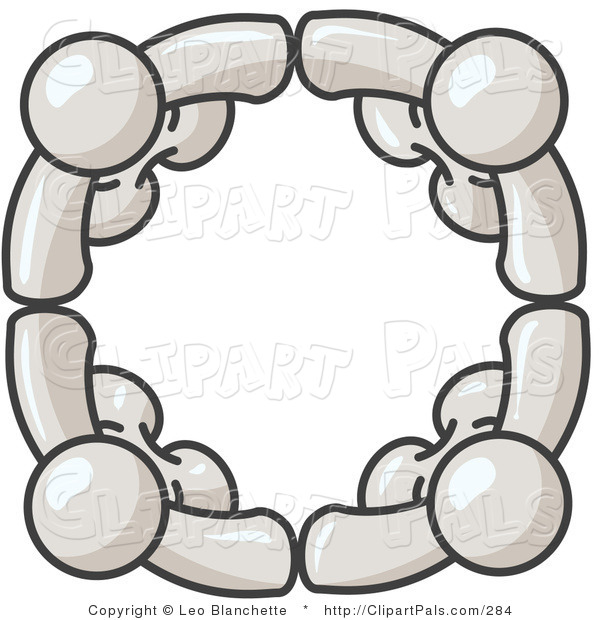 Pal Clipart of Four White People Standing in a Circle and Grasping Hands for Teamwork and Unity