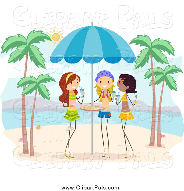 Pal Clipart Of Girls With Drinks On A Beach