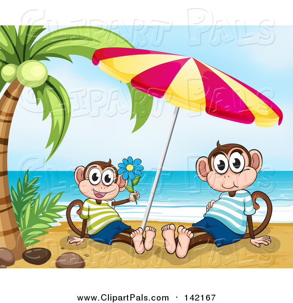 Pal Clipart of Happy Monkeys Under a Beach Umbrella