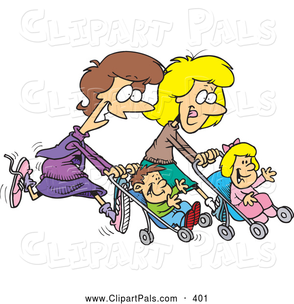 Pal Clipart of Happy Mother Friends Running with Strollers