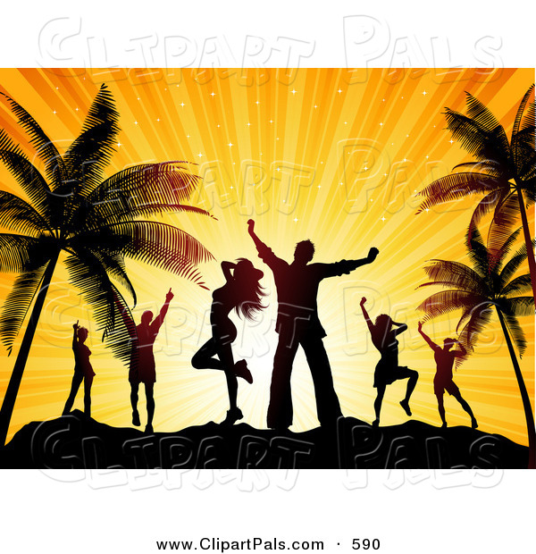 Pal Clipart of Happy Silhouetted Dancers Against an Orange Sunset on a Beach