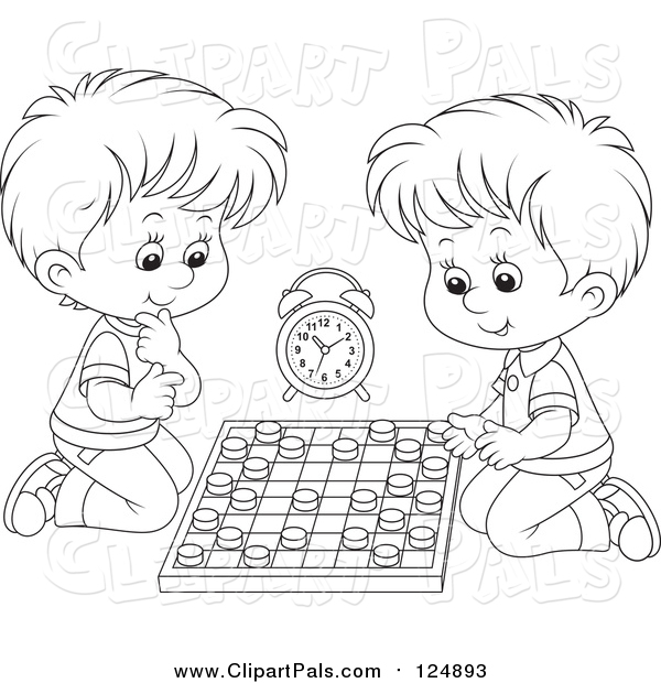 Pal Clipart of Lineart Boys Playing Chess