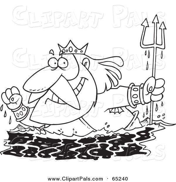 Pal Clipart of Lineart King Neptune Surfacing