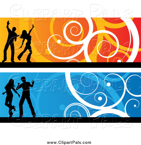 Pal Clipart of Orange and Blue Silhouetted Dancer and Swirl Website Banners