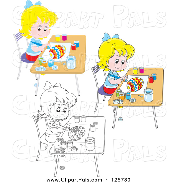 Pal Clipart of Outlined and Colored Girls Painting Easter Eggs