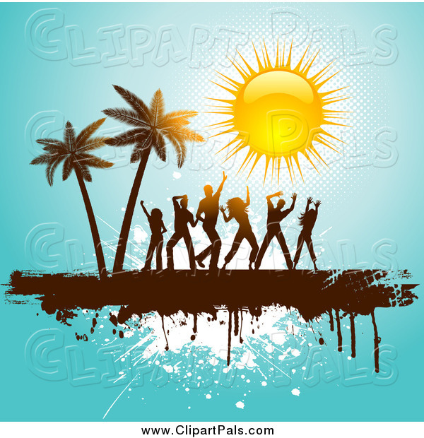 Pal Clipart of People Dancing near Palm Trees Under a Shiny Sun on Blue Grunge