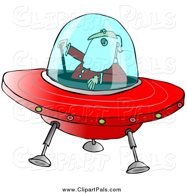 Pal Clipart of Santa Claus Flying a Christmas Saucer