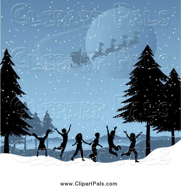 Pal Clipart of Santa Flying over Silhouetted Children Playing in a Winter Landscape