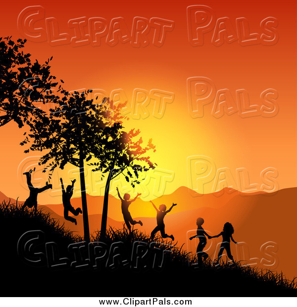 Pal Clipart of Silhouetted Active Children Playing on a Hillside at Sunset