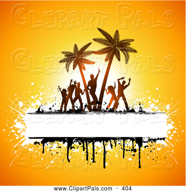 Pal Clipart of Silhouetted Beach Party People Dancing and Palm Trees with Copyspace and Grunge on Yellow